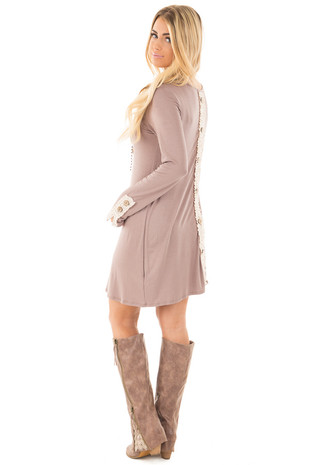 Mocha Tunic Dress with Lace Button Back Detail back side full body