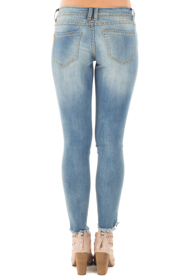 Light Denim Skinny Crop Jeans with Destroyed Tear Detail back view