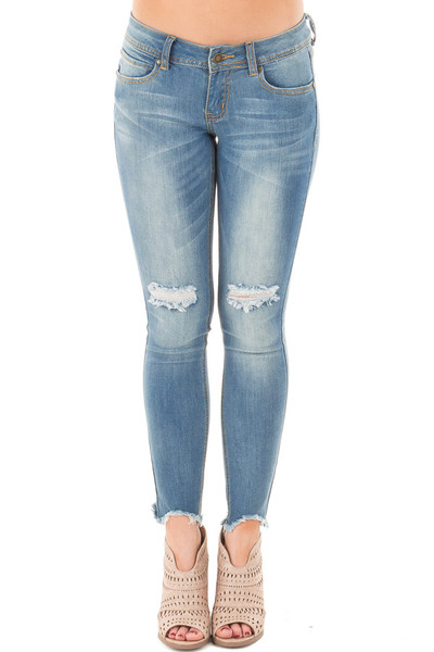 Light Denim Skinny Crop Jeans with Destroyed Tear Detail front view