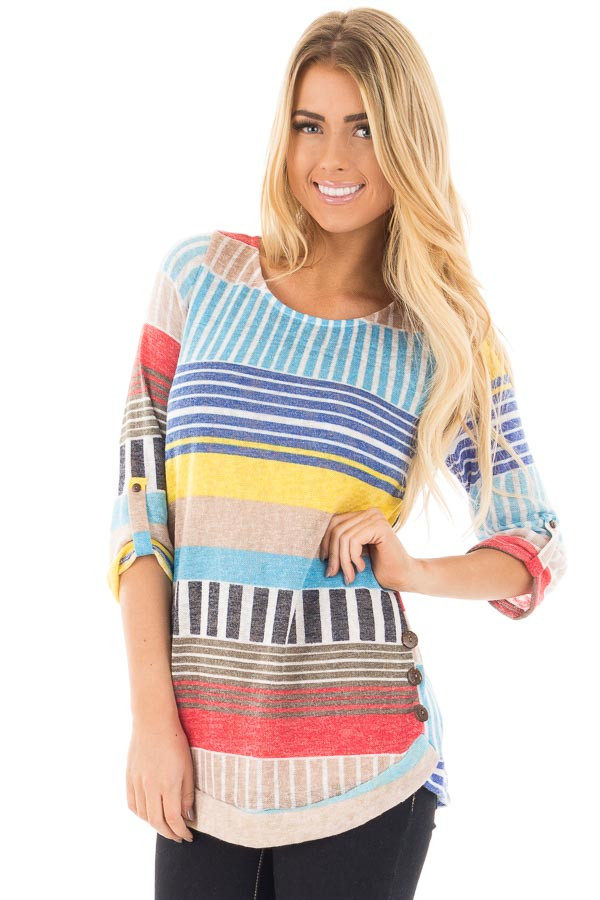 Multi Color Striped Knit Tunic with Button Detail front close up