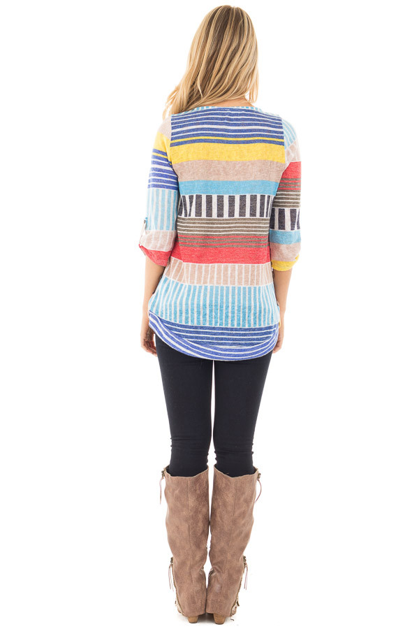 Multi Color Striped Knit Tunic with Button Detail back full body