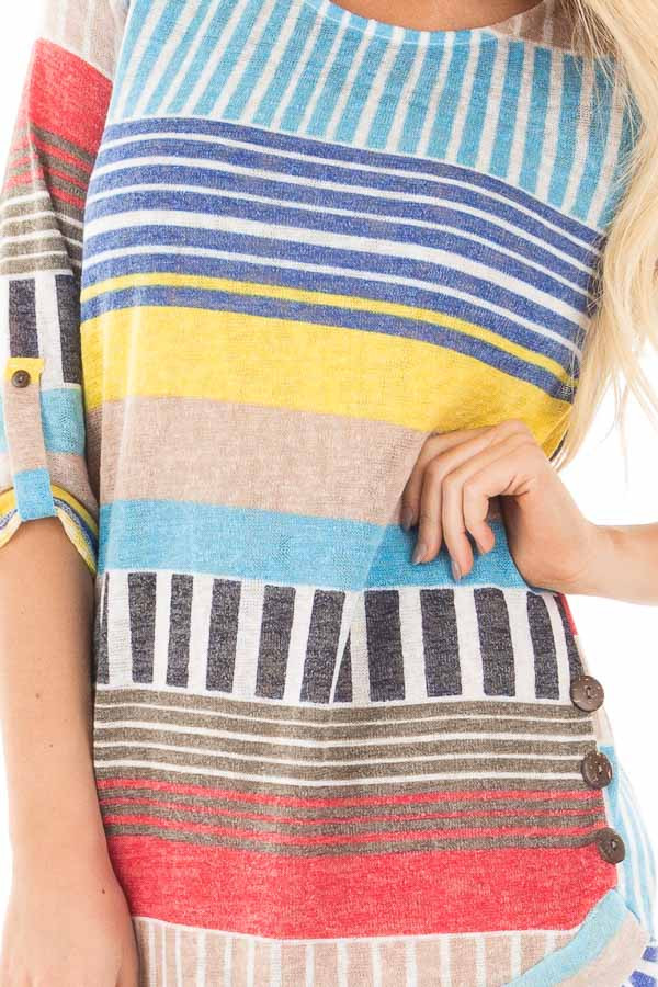 Multi Color Striped Knit Tunic with Button Detail detail