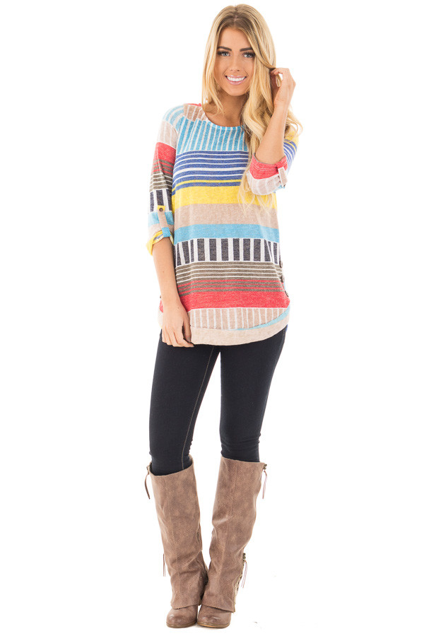 Multi Color Striped Knit Tunic with Button Detail front full body