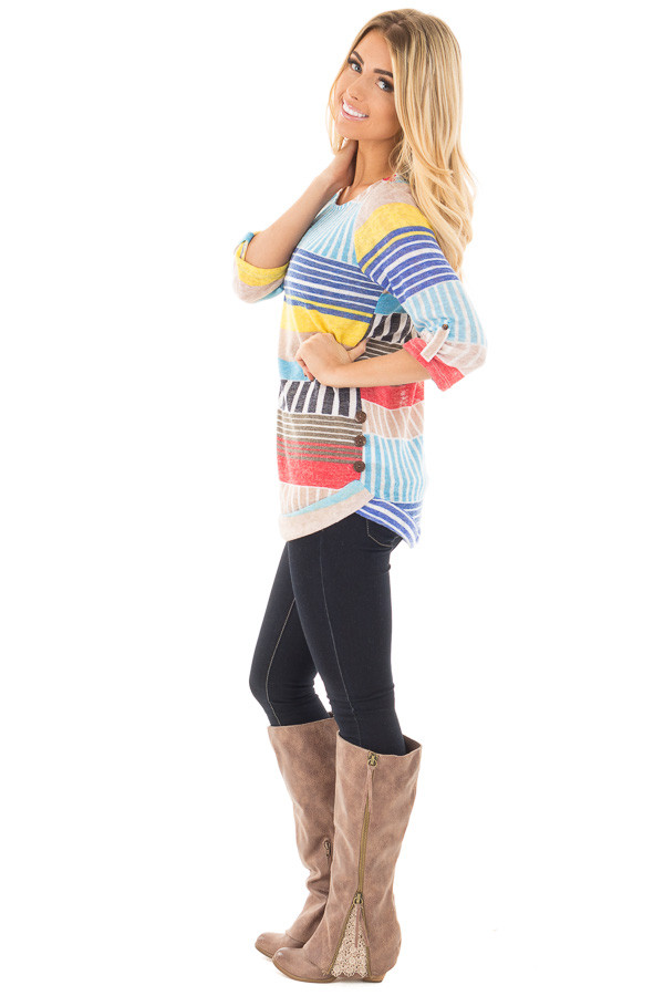 Multi Color Striped Knit Tunic with Button Detail side full body