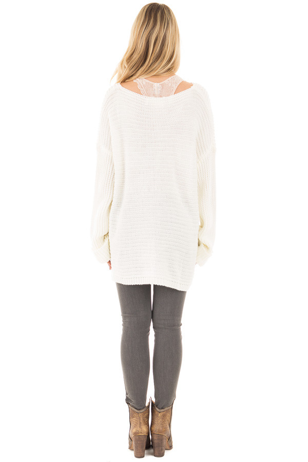 Ivory V Neck Long Sleeve Knit Sweater back full body
