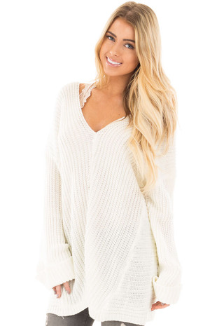Ivory V Neck Long Sleeve Knit Sweater front close up