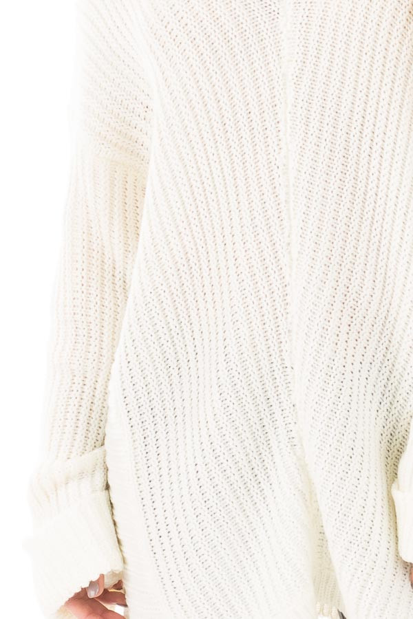 Ivory V Neck Long Sleeve Knit Sweater detail