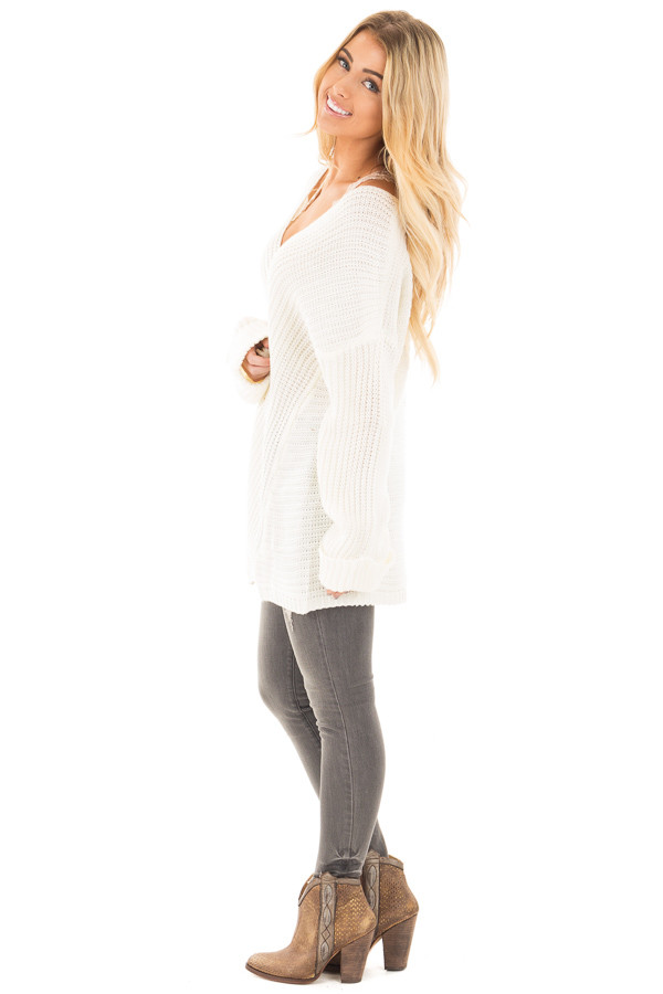 Ivory V Neck Long Sleeve Knit Sweater side full body