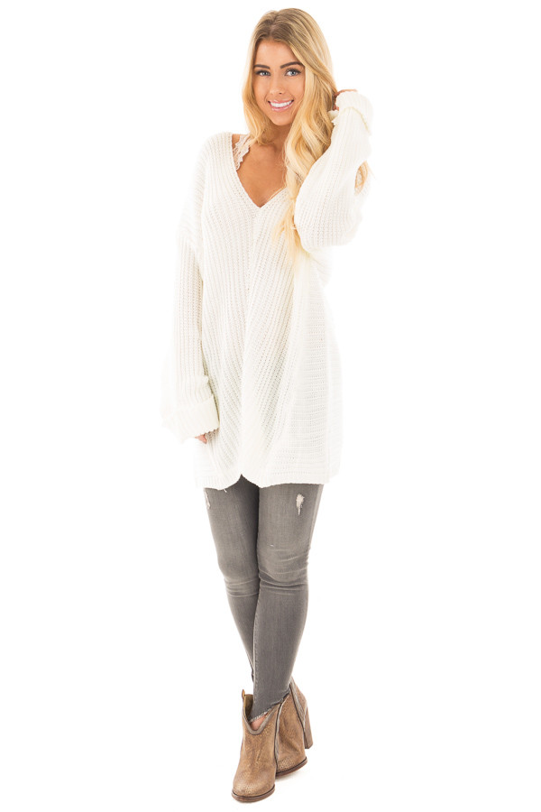 Ivory V Neck Long Sleeve Knit Sweater front full body