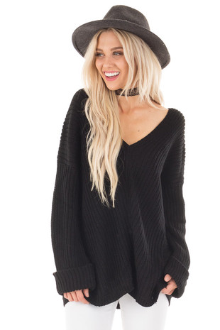 Black V Neck Long Sleeve Knit Sweater front close up