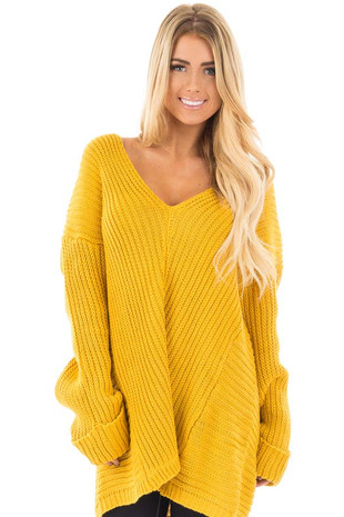Mustard V Neck Long Sleeve Knit Sweater front close up