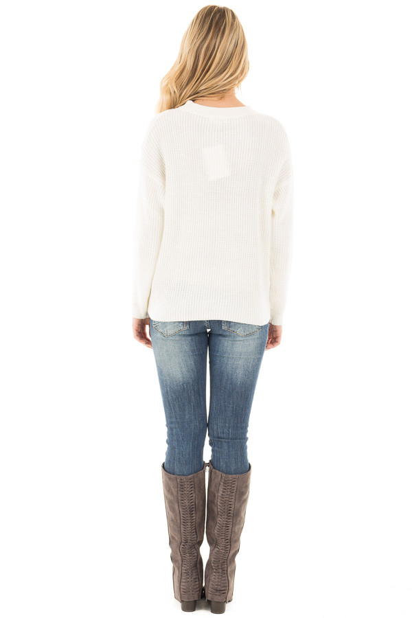 Ivory V Neck Cut Out Long Sleeve Knit Sweater back full body