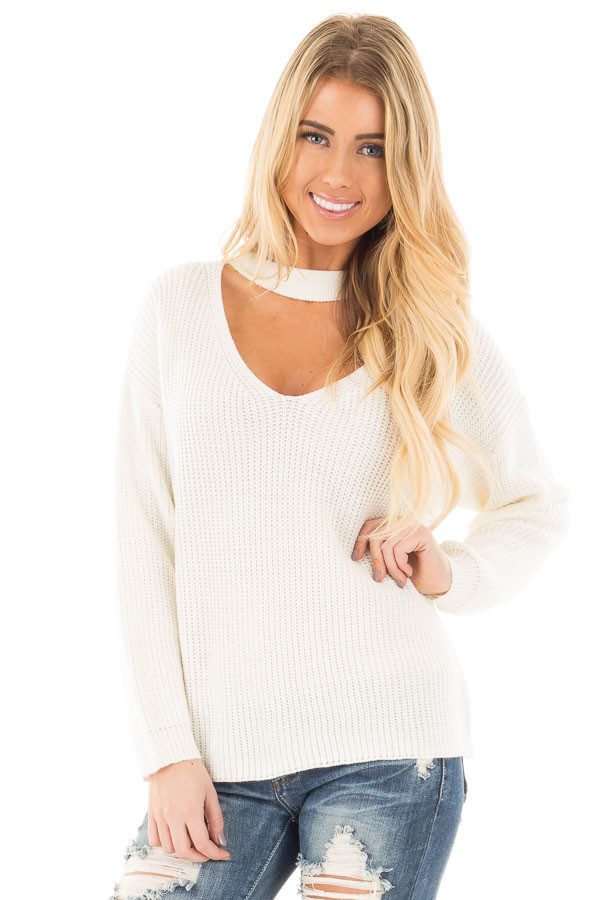 Ivory V Neck Cut Out Long Sleeve Knit Sweater front close up