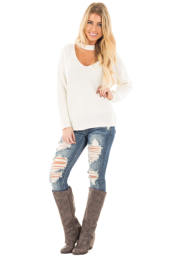 Ivory V Neck Cut Out Long Sleeve Knit Sweater front full body
