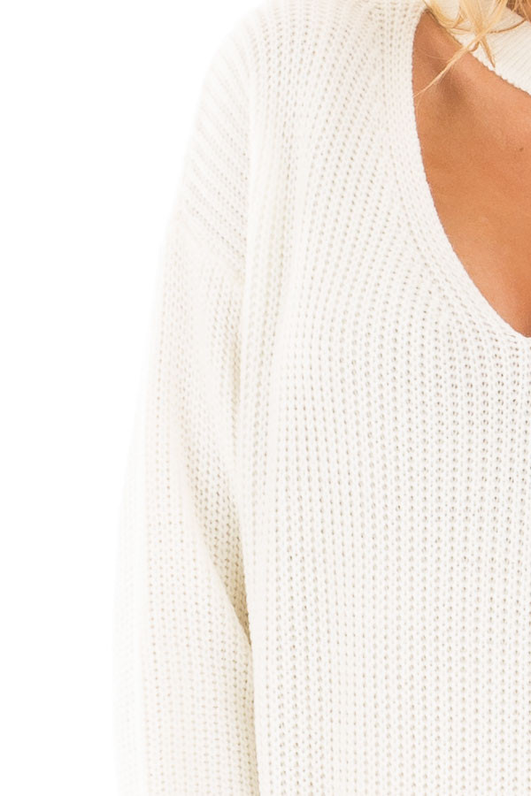 Ivory V Neck Cut Out Long Sleeve Knit Sweater detail