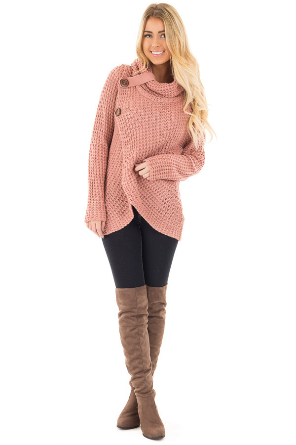 Deep Blush Knit Sweater with Cowl Neck and Button Detail front full body