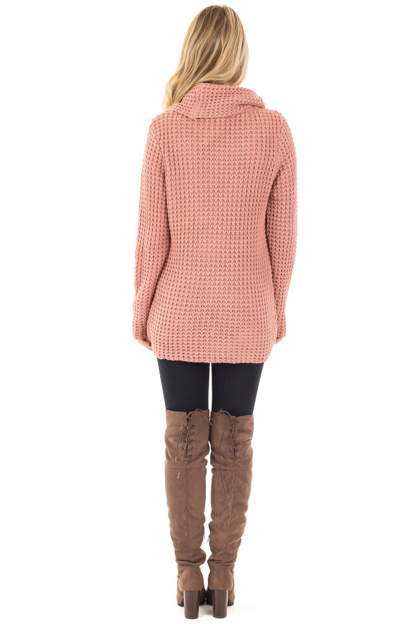 Deep Blush Knit Sweater with Cowl Neck and Button Detail back full body