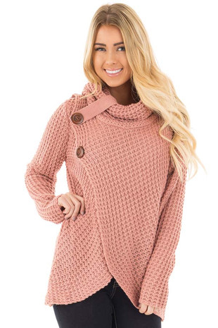 Deep Blush Knit Sweater with Cowl Neck and Button Detail front close up
