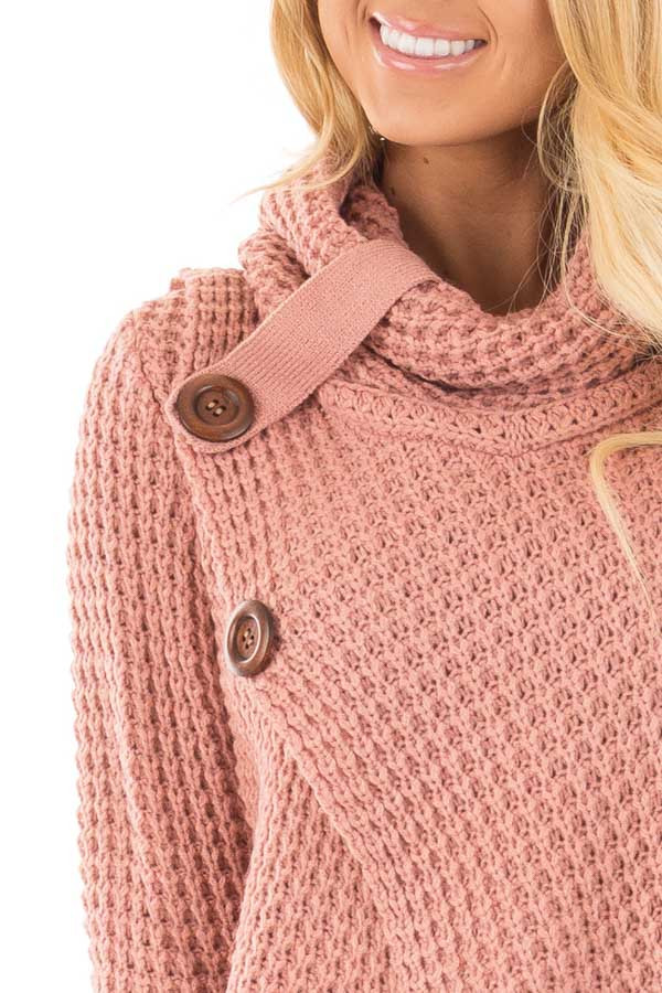 Deep Blush Knit Sweater with Cowl Neck and Button Detail detail