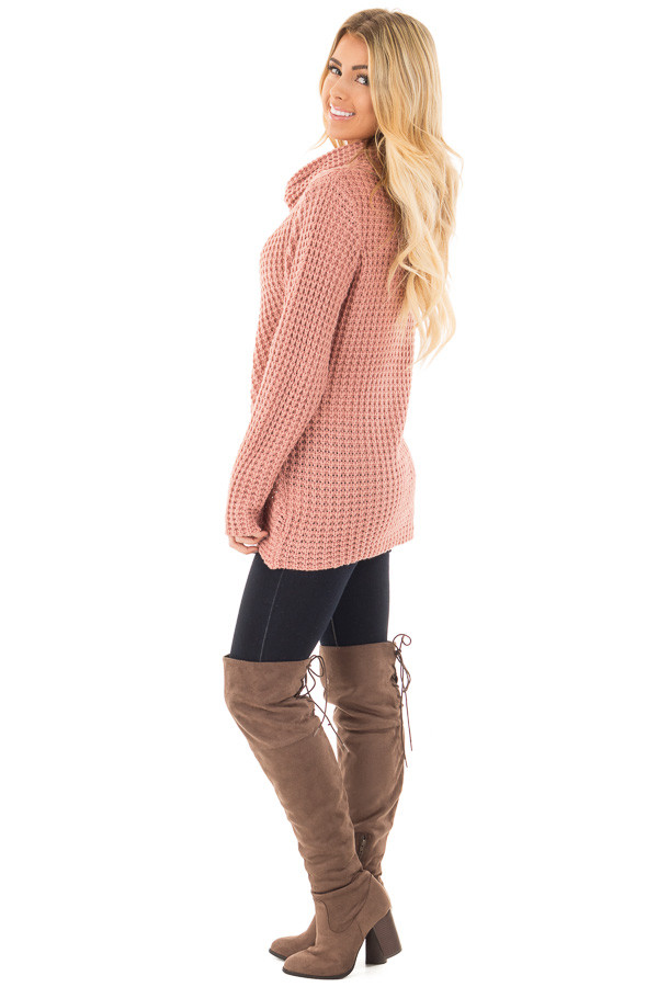 Deep Blush Knit Sweater with Cowl Neck and Button Detail side full body