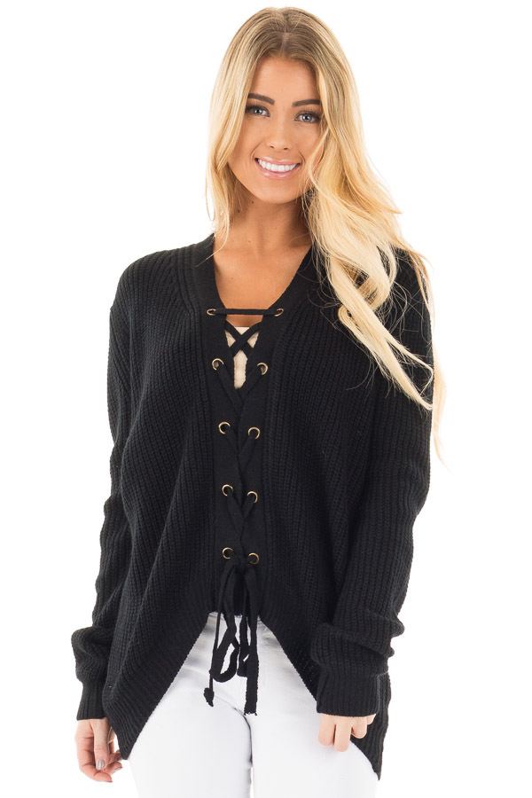 Black Knit Sweater with Front Lace Up Detail front close up