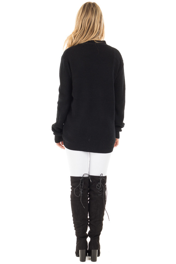 Black Knit Sweater with Front Lace Up Detail back full body
