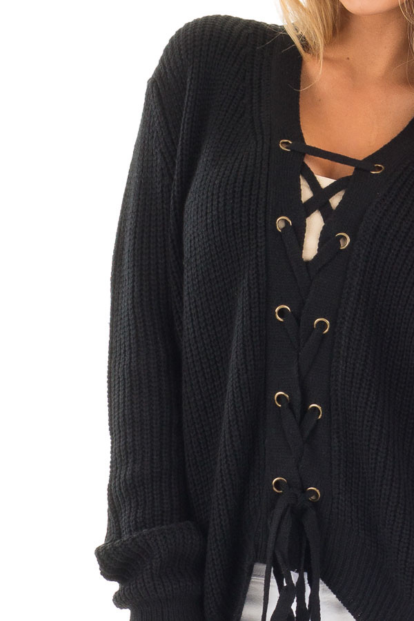 Black Knit Sweater with Front Lace Up Detail detail