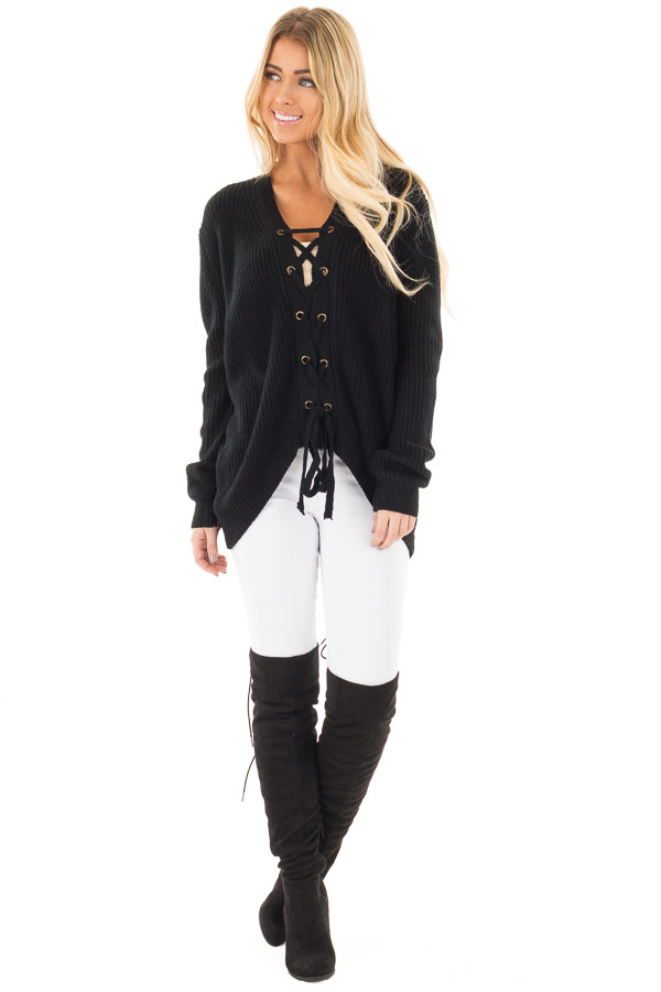 Black Knit Sweater with Front Lace Up Detail front full body