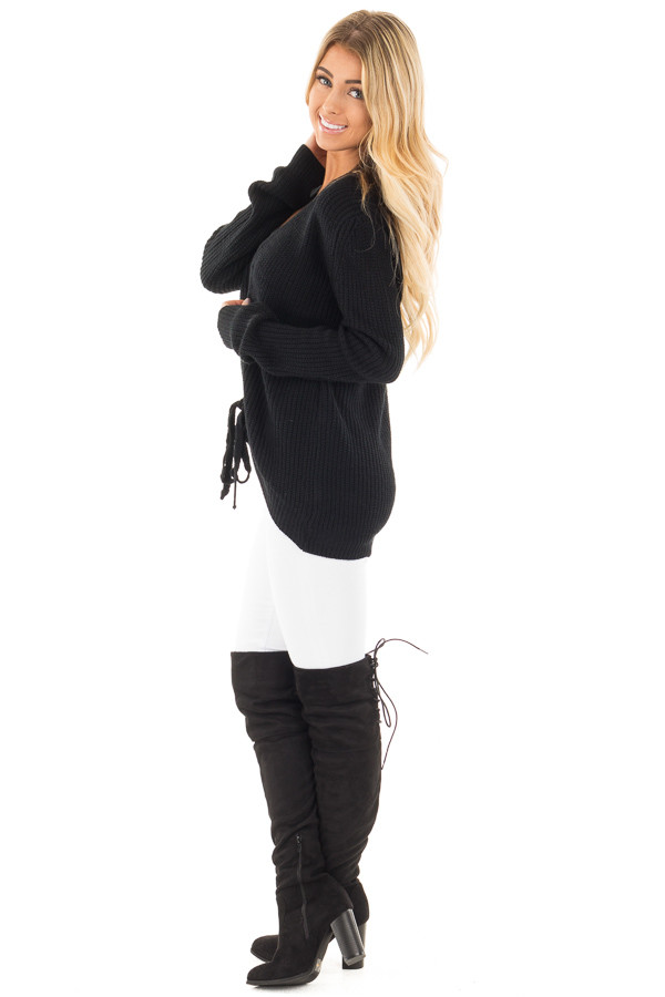 Black Knit Sweater with Front Lace Up Detail side full body