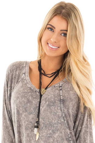 Black Suede Multi Layer Stone with Feather Pendent Necklace