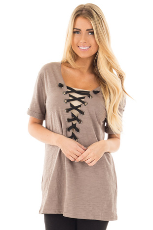 Olive Tee with Black Lace Up Neckline front close up