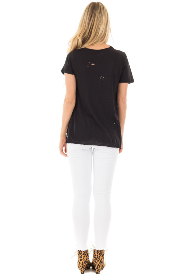 Black Distressed Short Sleeve Tee with Ripped Neckline back full body