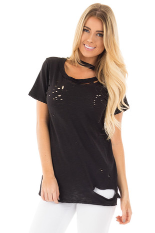 Black Distressed Short Sleeve Tee with Ripped Neckline front close up