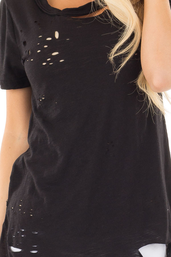 Black Distressed Short Sleeve Tee with Ripped Neckline detail
