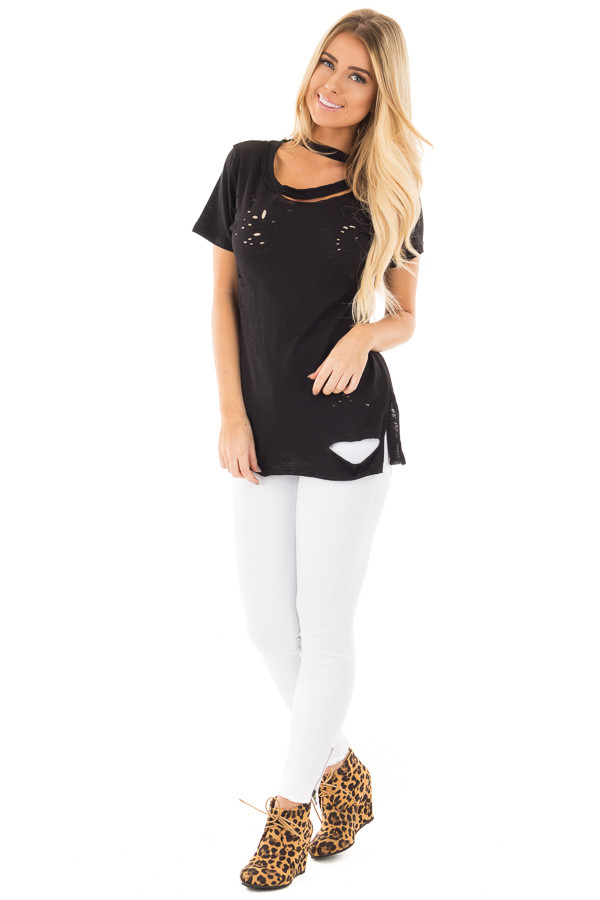 Black Distressed Short Sleeve Tee with Ripped Neckline front full body