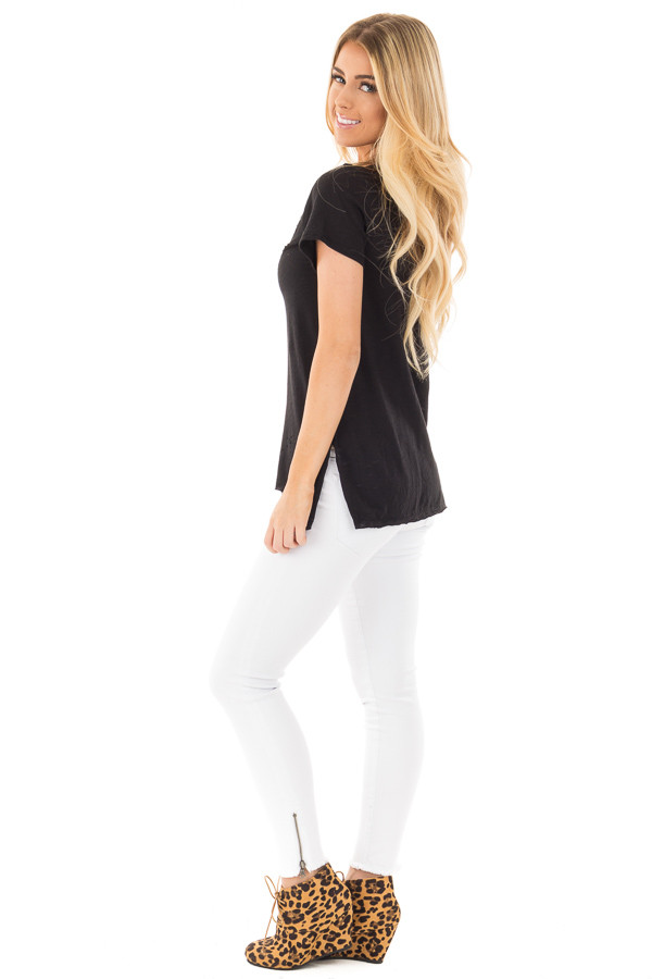 Black Distressed Short Sleeve Tee with Ripped Neckline side full body
