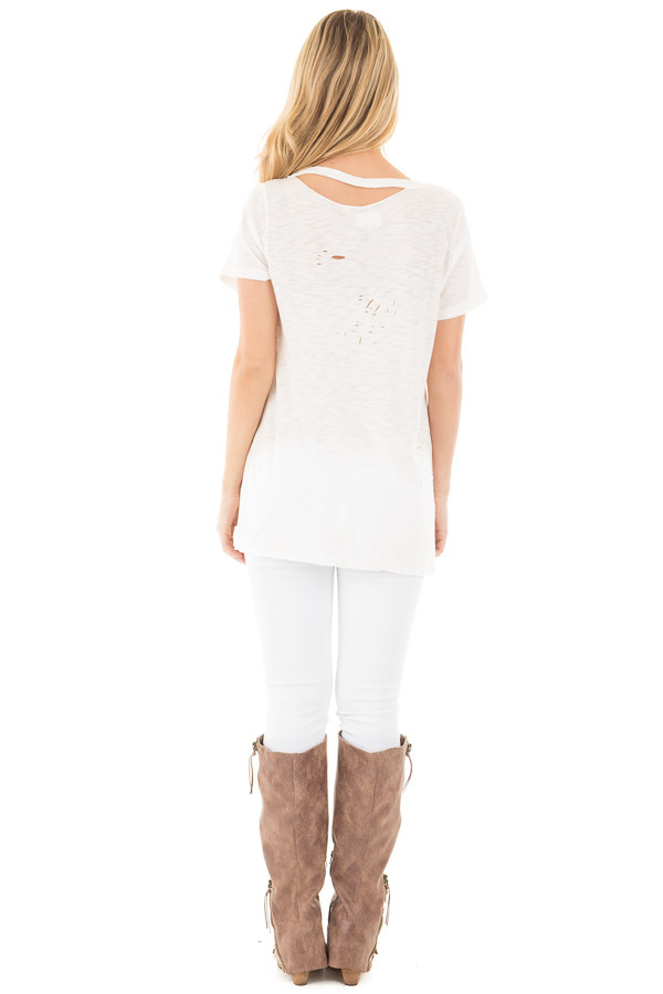 Ivory Distressed Short Sleeve Tee with Ripped Neckline back full body