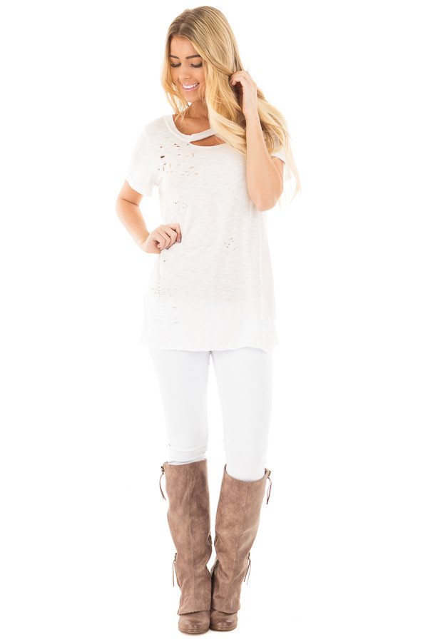 Ivory Distressed Short Sleeve Tee with Ripped Neckline front full body