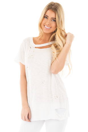 Ivory Distressed Short Sleeve Tee with Ripped Neckline front close up