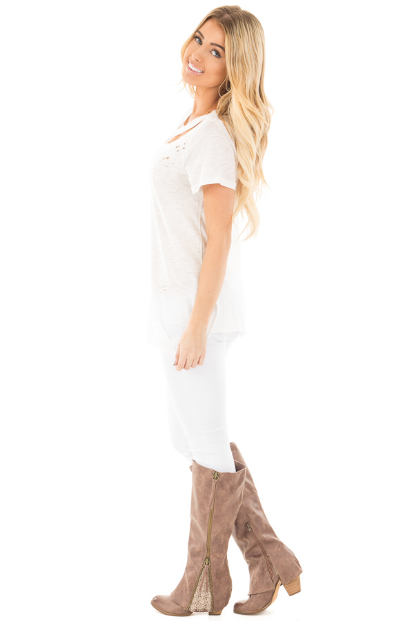 Ivory Distressed Short Sleeve Tee with Ripped Neckline side full body