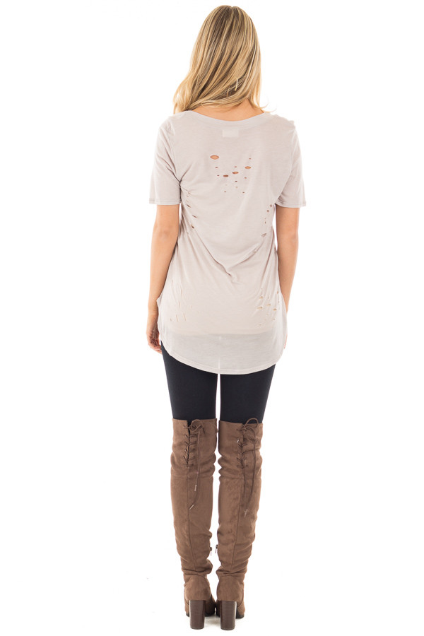 Light Grey Distressed Tee with Deep Criss Cross Neckline back full body
