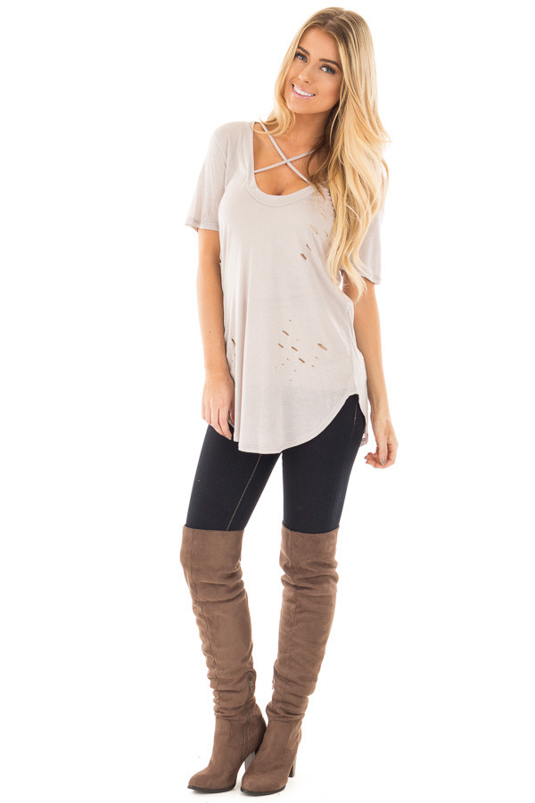 Light Grey Distressed Tee with Deep Criss Cross Neckline front full body
