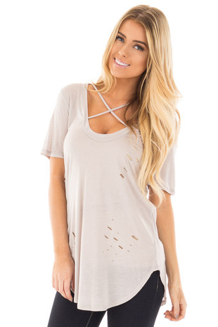 Light Grey Distressed Tee with Deep Criss Cross Neckline front close up
