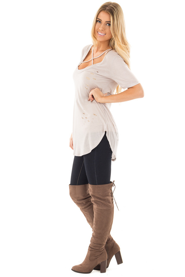 Light Grey Distressed Tee with Deep Criss Cross Neckline side full body