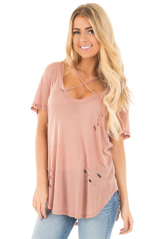 Dusty Rose Distressed Tee with Deep Criss Cross Neckline front close up