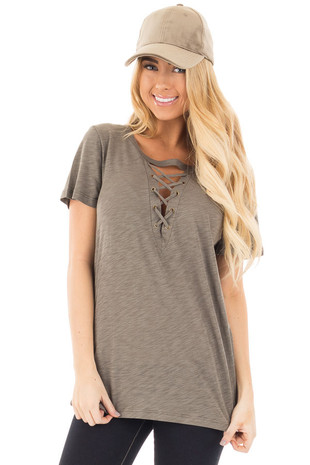 Olive Short Sleeve Tee with Cut Out Lace Up V Neck front close up