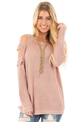 Dusty Rose Cold Shoulder Sweater with Cut Out Sleeve Details front close up