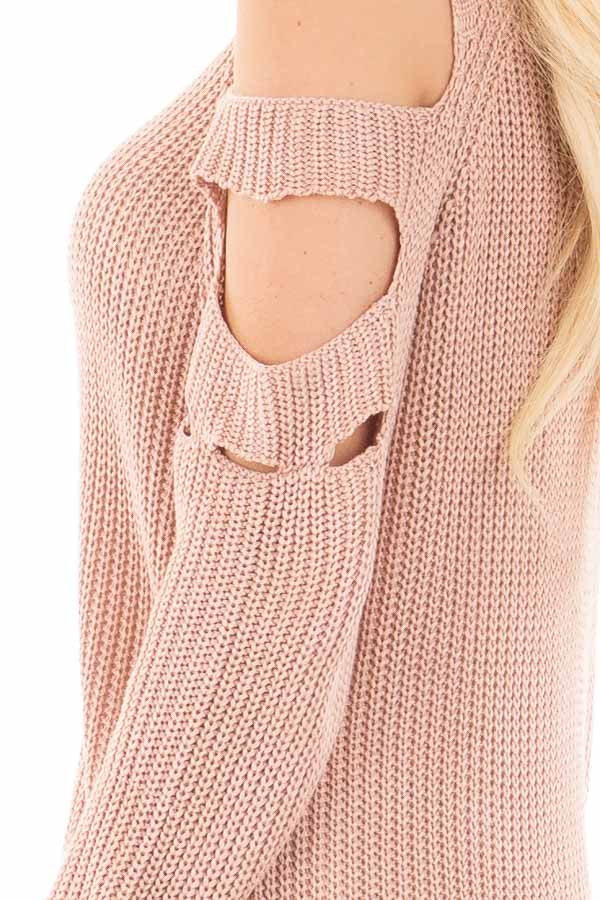 Dusty Rose Cold Shoulder Sweater with Cut Out Sleeve Details detail