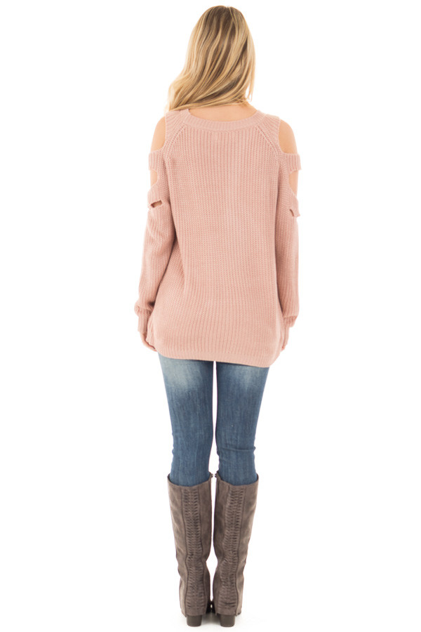 Dusty Rose Cold Shoulder Sweater with Cut Out Sleeve Details back full body