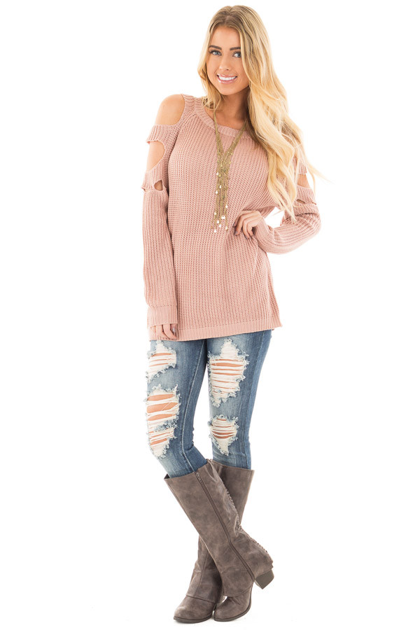 Dusty Rose Cold Shoulder Sweater with Cut Out Sleeve Details front full body